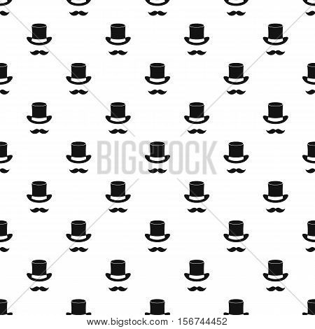 Magic black hat and mustache pattern. Simple illustration of magic black hat and mustache vector pattern for web