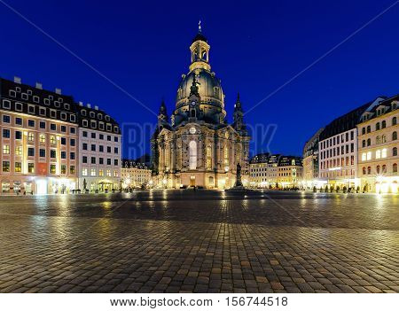 Frauenkirche church in Dresden at evening Germany. Europe.