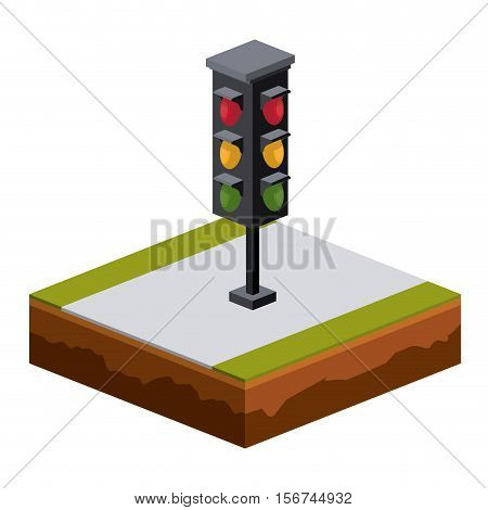Semaphore icon. Isometric 3d structure and perspective theme. Isolated design. Vector illustration
