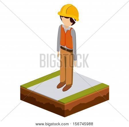 man of under construction icon. Isometric 3d structure and perspective theme. Isolated design. Vector illustration