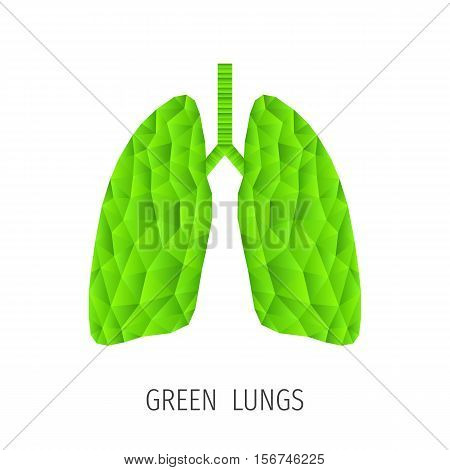 Polygonal green lungs isolated on white. Abstract low poly triangle ecology concept. Human internal organ. Medical vector icon.