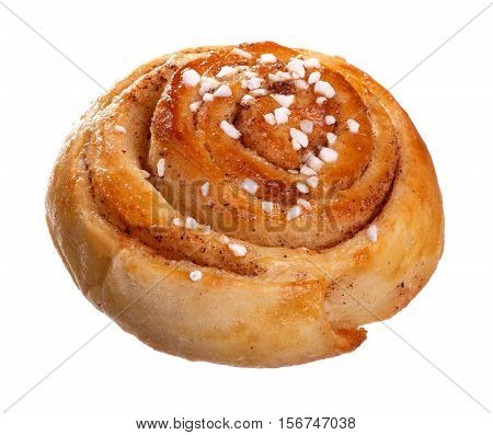 One cinnamon roll isolated on white background.