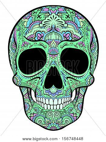 Vector colorful green skull graphics with floral ornaments