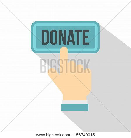 Hand presses button to donate icon. Flat illustration of hand presses button to donate vector icon for web design