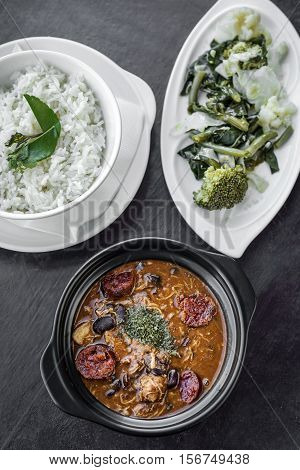 chicken feijoada with chorizo portuguese rustic spicy traditional bean stew meal