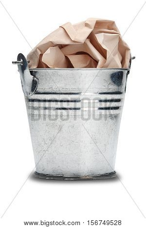 The old metal trash bin with a shadow on isolated white background
