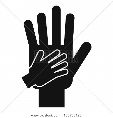 Parent and child hands together icon. Simple illustration of parent and child hands vector icon for web design