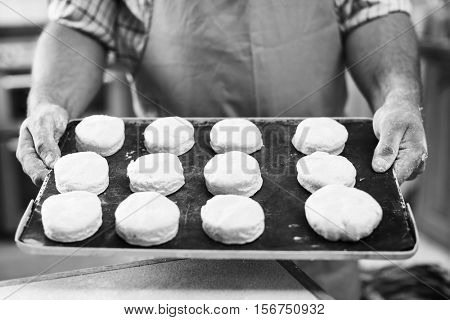 Hands Holding Dough Tray Scone Bakery Concept