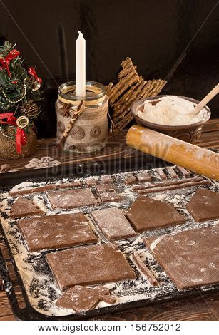 Preparation Gingerbread House For Christmas New Year Celebration