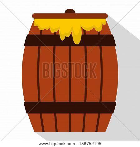 Honey keg icon. Flat illustration of honey keg vector icon for web