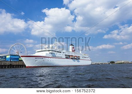 Cruise Ship Ms Deutschland At River Elbe
