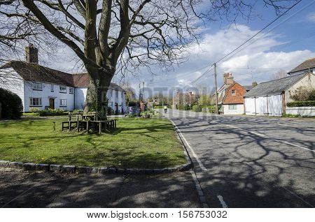 BREDE, KENT, UK, 13 APRIL 2016 - Village green in the village of Brede Kent UK
