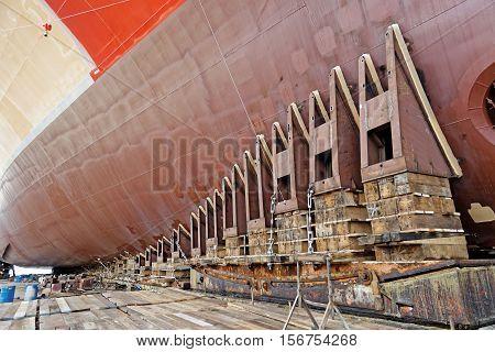 new ship ready for launching in shipyard