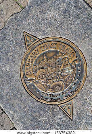 San Francisco Manhole Cover On Pier 39,  California, Usa