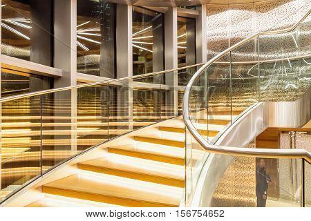 DUBAI - NOVEMBER 08 2016: The interior of the Burj Khalifa in 125 floor. Moveable staircase up to 125 floors. Dubai United Arab Emirates