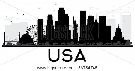 USA City skyline black and white silhouette. Simple flat concept for tourism presentation, banner, placard or web site. Business travel concept. Cityscape with landmarks
