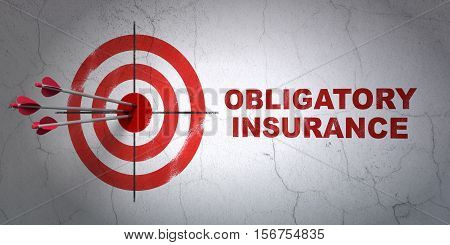 Success Insurance concept: arrows hitting the center of target, Red Obligatory Insurance on wall background, 3D rendering