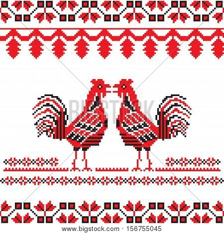 Slavic ornate with two red cocks. Beautiful Slavic background with 2017 Chinese New Year Symbols.