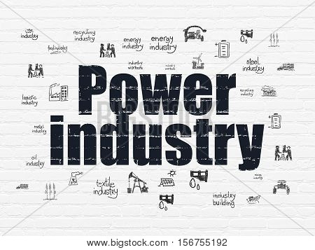 Industry concept: Painted black text Power Industry on White Brick wall background with  Hand Drawn Industry Icons