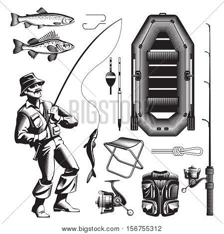 Vintage fishing isolated decorative icon set with old style fisher tackle air boar and other gear vector illustration