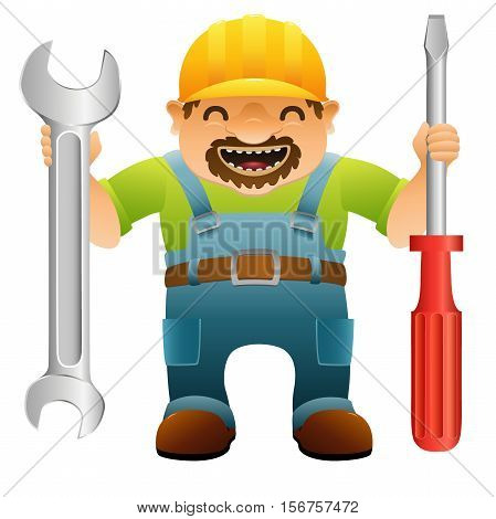 handyman in yellow hard hat and blue overalls with screwdriver and wrench