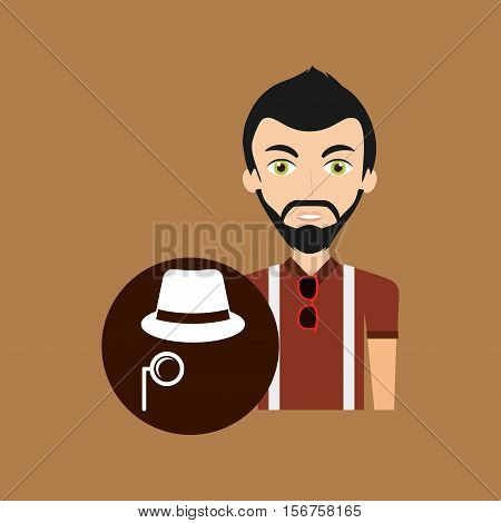 young hipster man fedora hat and mustache vector illustration eps 10