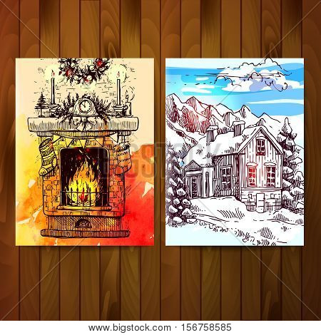 Set of christmas cards. Sketches of fireplace and winter landscape with house and mountains.