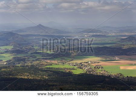 Panoramic View From Jested Mountain Near Liberec In Czech Republic