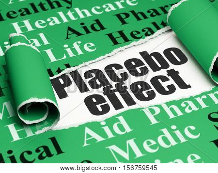 Healthcare concept: black text Placebo Effect under the curled piece of Green torn paper with  Tag Cloud, 3D rendering