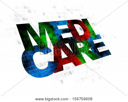 Medicine concept: Pixelated multicolor text Medicare on Digital background