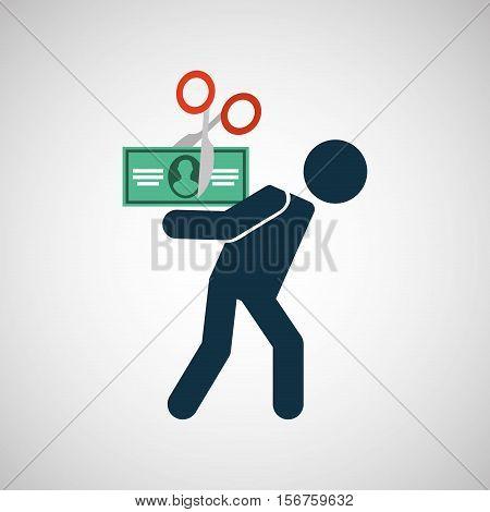 silhouette man financial crisis bill dollar vector illustration eps 10