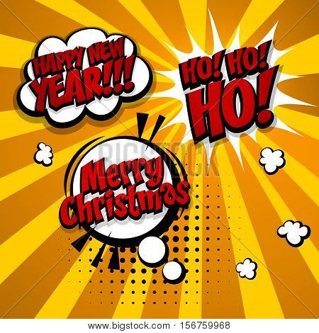 New year, Merry Christmas, hohoho set. Speech comic bubble text halftone gold background. Pop art style vector illustration. Holiday burst expression speech pop art bubble cloud. Boom communication