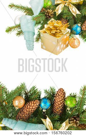 christmas tree and decorations with gift box borders isolated on white background