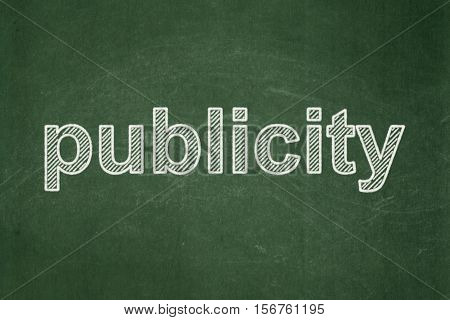 Marketing concept: text Publicity on Green chalkboard background