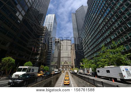 NEW YORK CITY - MAY 6, 2013: Grand Central Termial and MetLife Building (Pan Am Building) on Park Avenue near 39th Street, Midtown Manhattan, New York City, USA.