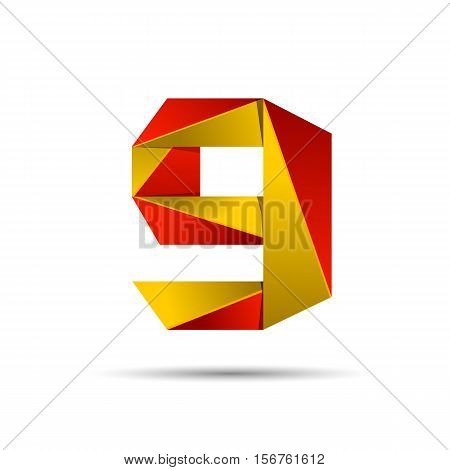 Number nine 9 icon design template elements 3d logo. Red and gold glossy style. Vector design template elements for application or company.