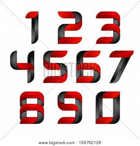 vector 3d Number set logo with speed red and black. Design for banner, presentation, web page, card, labels or posters.