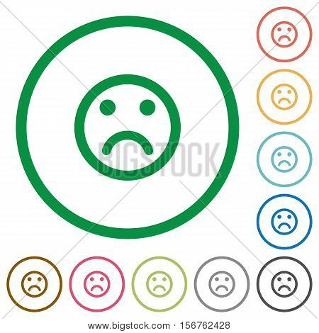 Sad emoticon flat color icons in round outlines