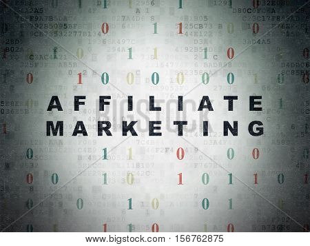 Business concept: Painted black text Affiliate Marketing on Digital Data Paper background with Binary Code