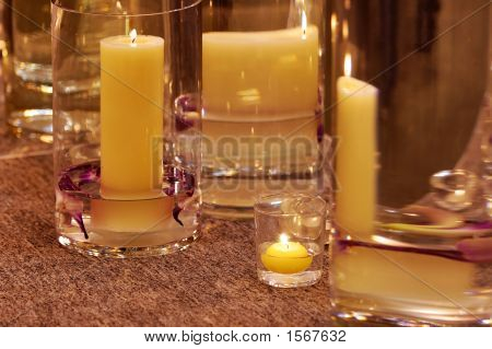 Different Candleholders Of Glass