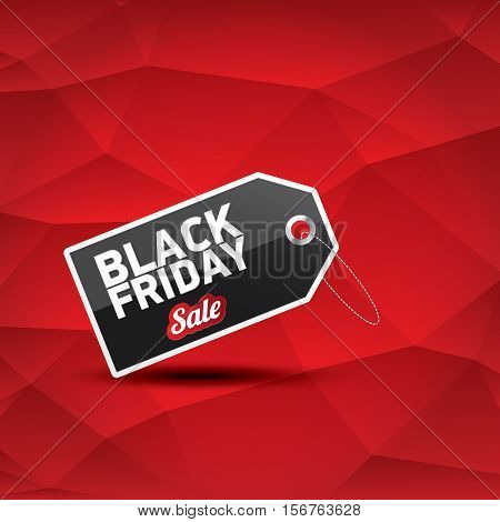 vector Black Friday sales tag or label on abstract polygonal red background. Black Friday sale poster or background