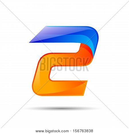 Number two 2 logo orange and blue color with fast speed lines. Vector design for banner, presentation, web page, card, labels or posters.