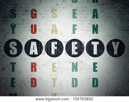 Security concept: Painted black word Safety in solving Crossword Puzzle on Digital Data Paper background