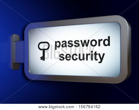 Privacy concept: Password Security and Key on advertising billboard background, 3D rendering