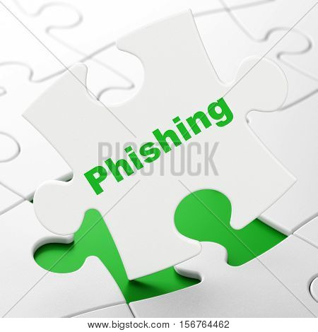 Security concept: Phishing on White puzzle pieces background, 3D rendering