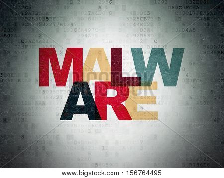 Protection concept: Painted multicolor text Malware on Digital Data Paper background