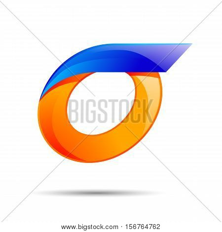 Number zero 0 logo orange and blue color with fast speed lines. Vector design for banner, presentation, web page, card, labels or posters.
