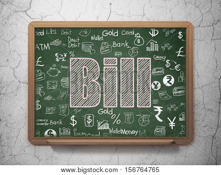 Money concept: Chalk Pink text Bill on School board background with  Hand Drawn Finance Icons, 3D Rendering