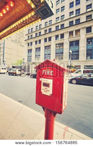 Vintage toned fire emergency call box Chicago USA.