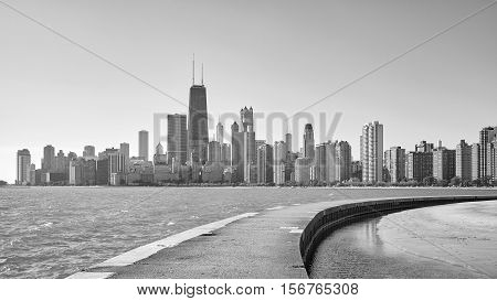 Chicago City Skyline Seen From Pier On Lake Michigan, Usa.
